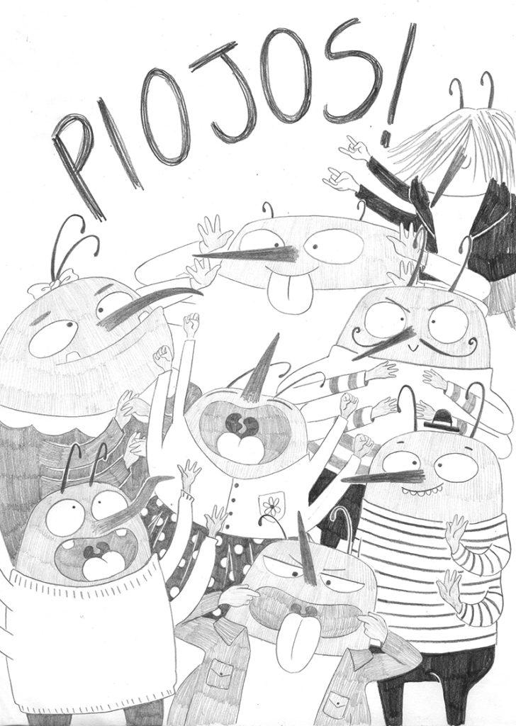 Rapunzel con piojos, Anaya Infantil y Juvenil, El Hematocrítico, literatura infantil, Feliz Feroz, Mar Villar, libro ilustrado, álbum ilustrado, cuantos clásicos,  boceto, diseño de personajes, dibujo de piojos,
