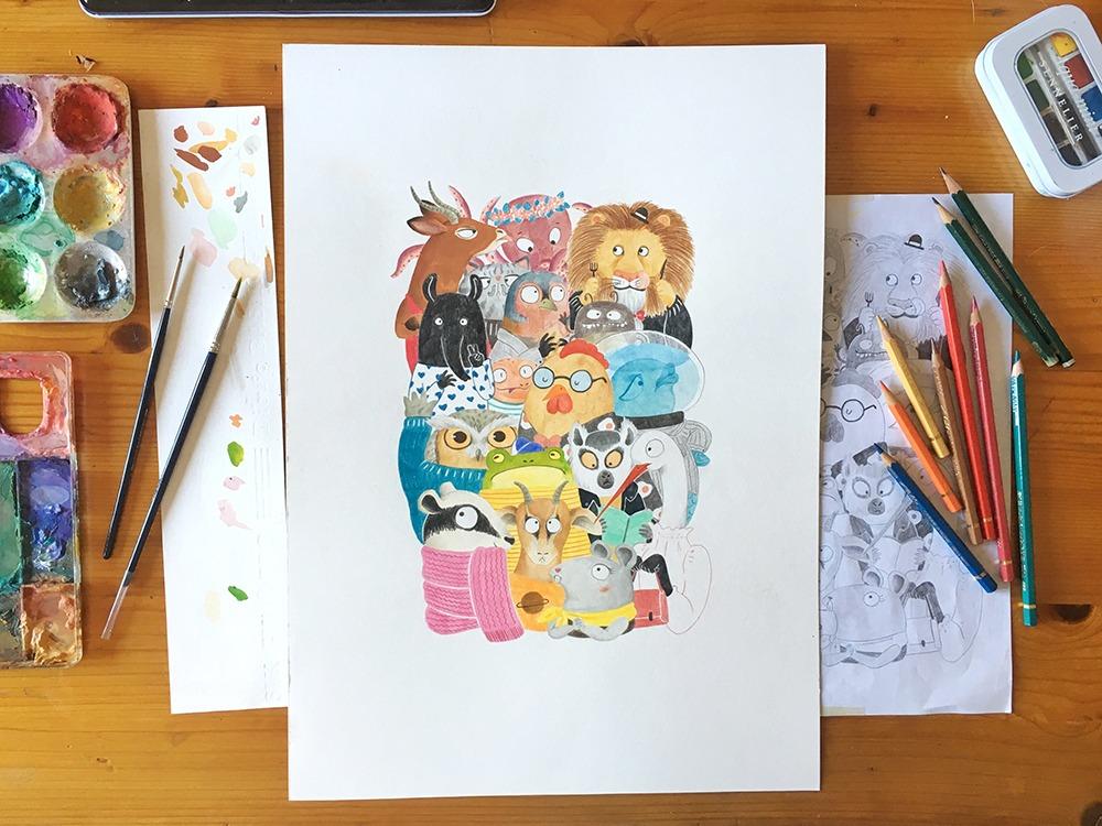 ilustración infantil de animales, Mar Villar, dibujo de animales, ilustracion de animales para niños, elaboración de una ilustración, proceso de trabajo de una ilustración,