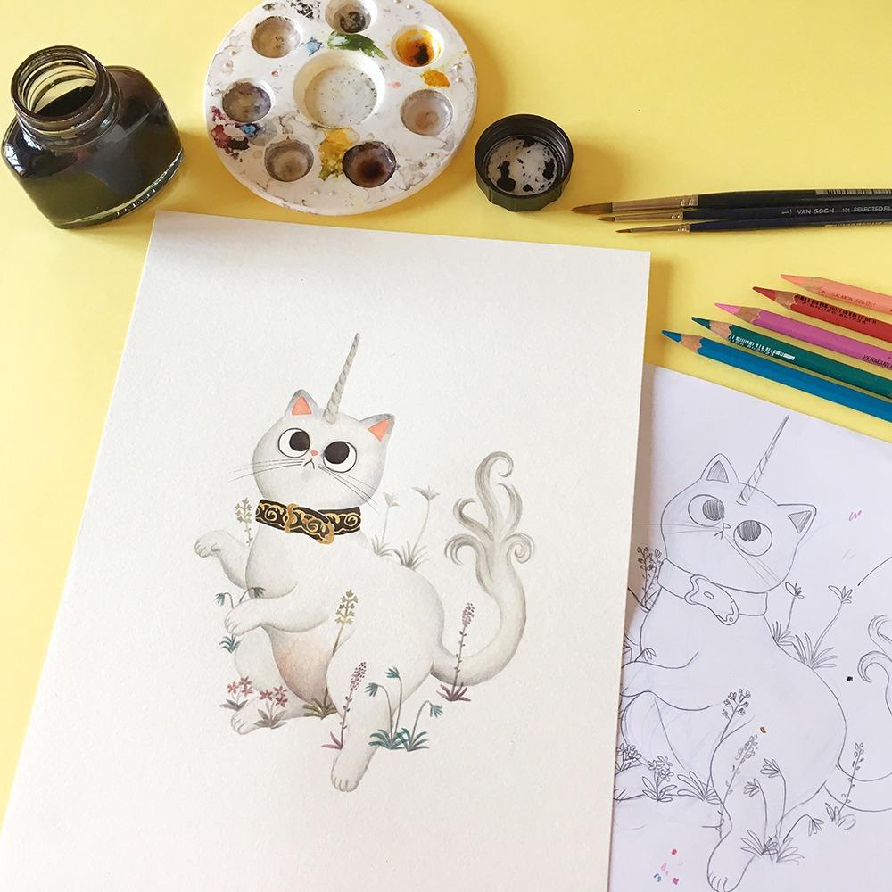 Inktober 2019, inktober de gatos, ilustración inktober, gato unicornio, proceso de ilustración a tinta, ilustración de gatos, el unicornio en cautividad, unicorn in captivity,
