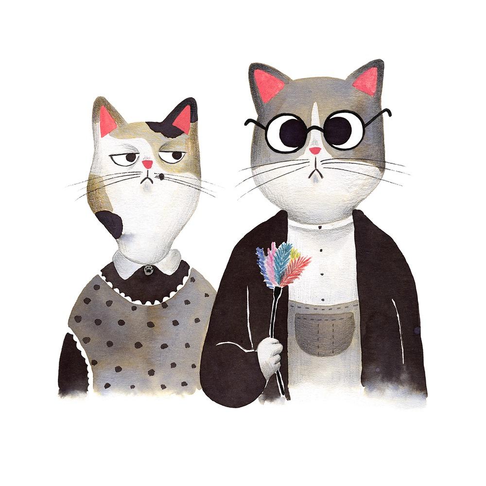 Inktober 2019, ilustración de gato, ilustración a tinta, historia del arte, American Gothic, Grant Wood,