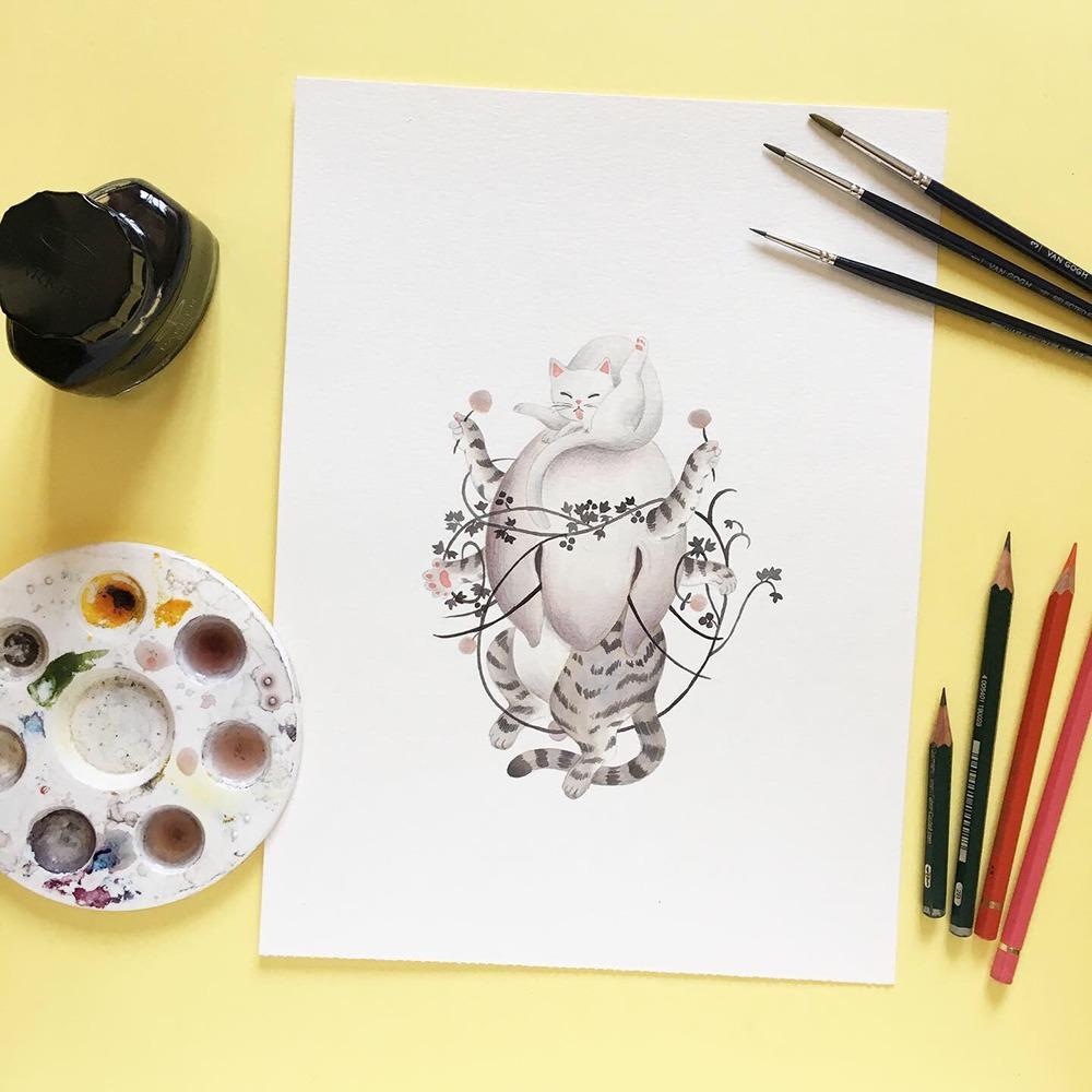 Inktober 2019, ilustración de gato, ilustración a tinta, historia del arte, El jardín de las delicias, El Bosco, Museo del Prado,