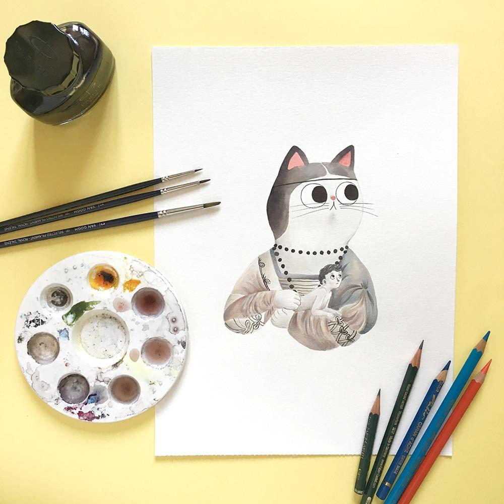 Inktober 2019, ilustración de gato, ilustración a tinta, historia del arte, La dama del armiño, Leonardo Da Vinci,