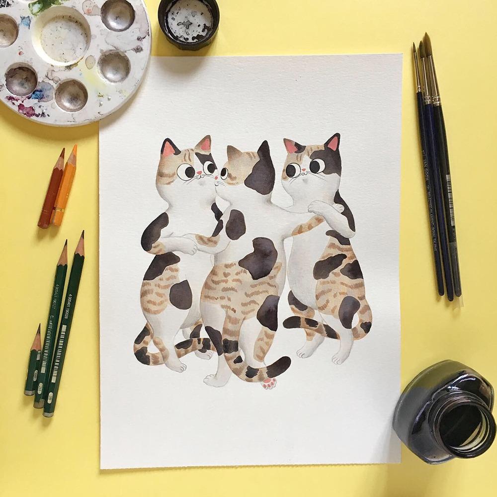 Inktober 2019, ilustración de gato, ilustración a tinta, historia del arte, Rubens, Las Tres Gracias, Museo del Prado,