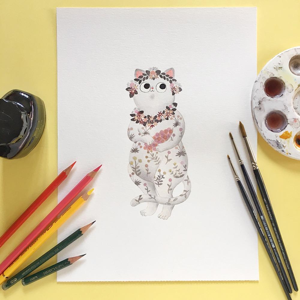 Inktober 2019, ilustración de gato, ilustración a tinta, historia del arte, La Primavera, Sandro Botticelli, Gallerie Degli Uffizi,
