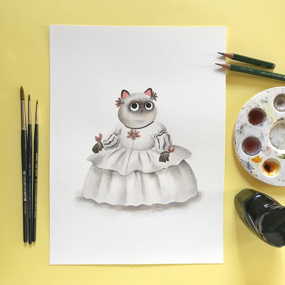 Inktober 2019, ilustración de gato, ilustración a tinta, historia del arte, Las Meninas, Diego de Velázquez, Museo del Prado,