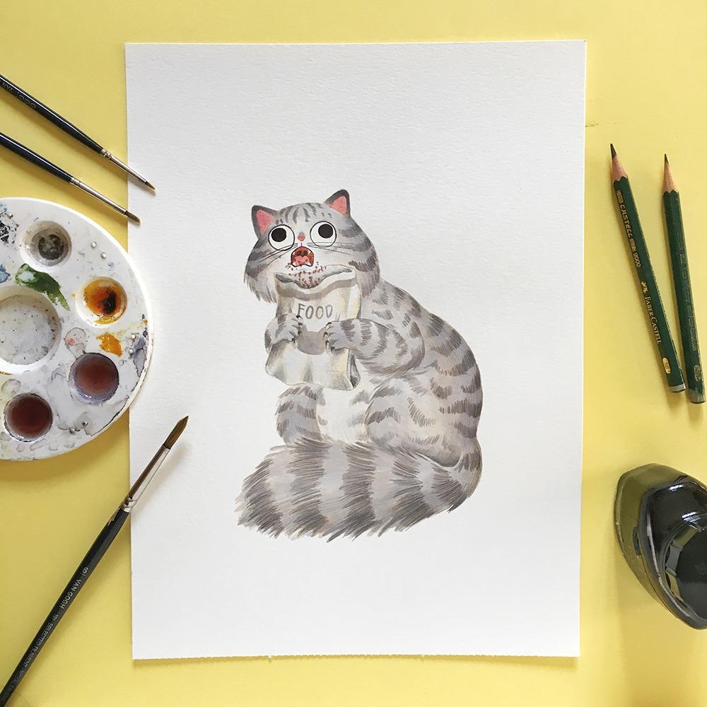 Inktober 2019, ilustración de gato, ilustración a tinta, historia del arte, Saturno devorando a sus hijos, Francisco de Goya, Museo del Prado,