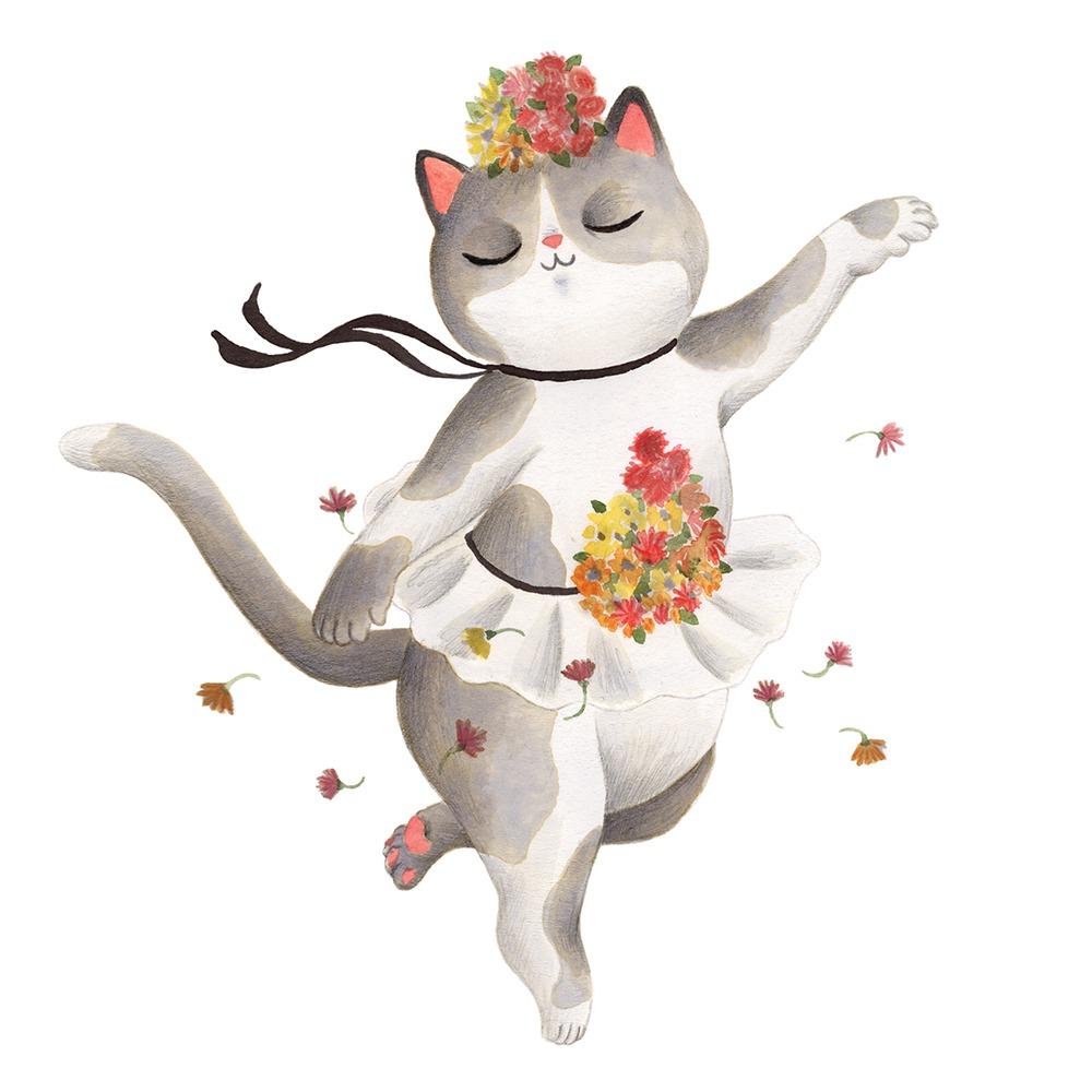 Inktober 2019, ilustración de gato, ilustración a tinta, historia del arte, La estrella, Edgar Degas, Musée d'Orsay,