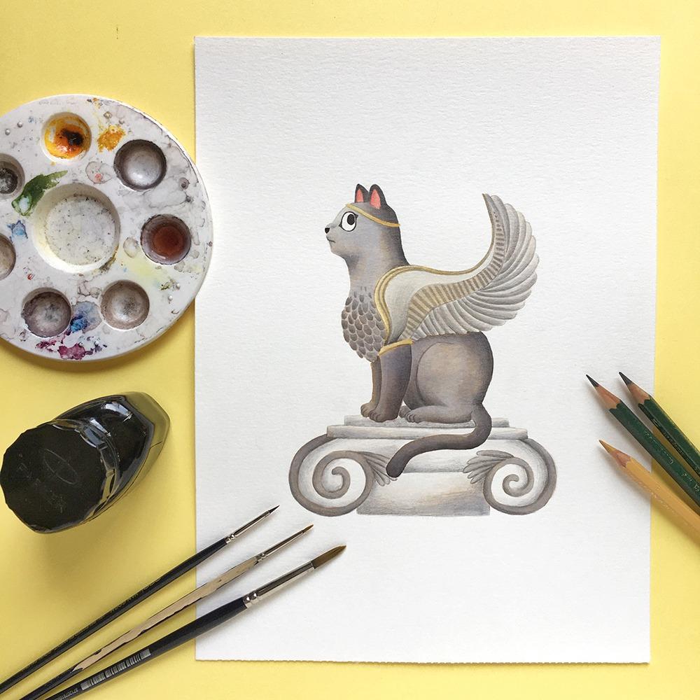 Inktober 2019, ilustración de gato, ilustración a tinta, historia del arte, Esfinge de Naxos,