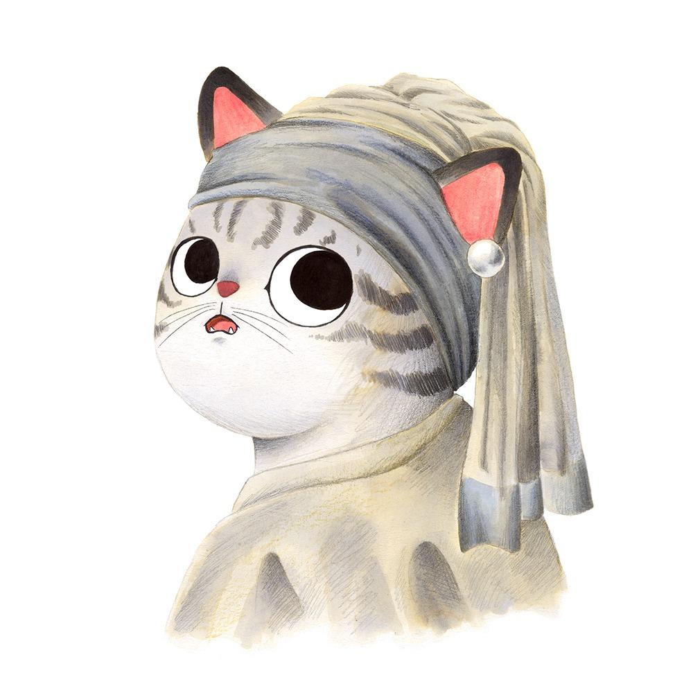 Inktober 2019, ilustración de gato, ilustración a tinta, historia del arte, La joven de la perla, Johannes Vermeer,
