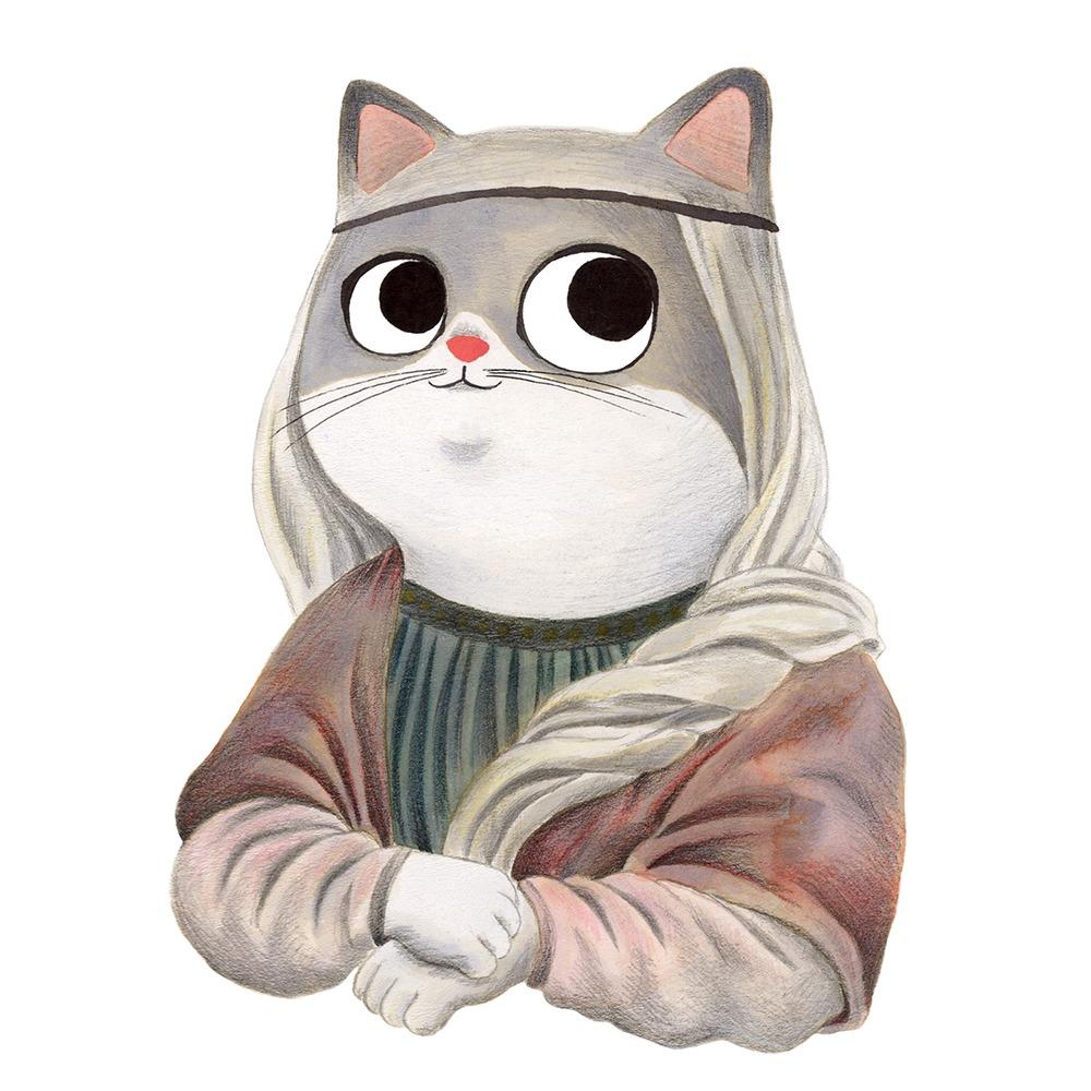 Inktober 2019, ilustración de gato, ilustración a tinta, historia del arte, La Gioconda, Mona Lisa, Louvre, Leonardo Da Vinci,