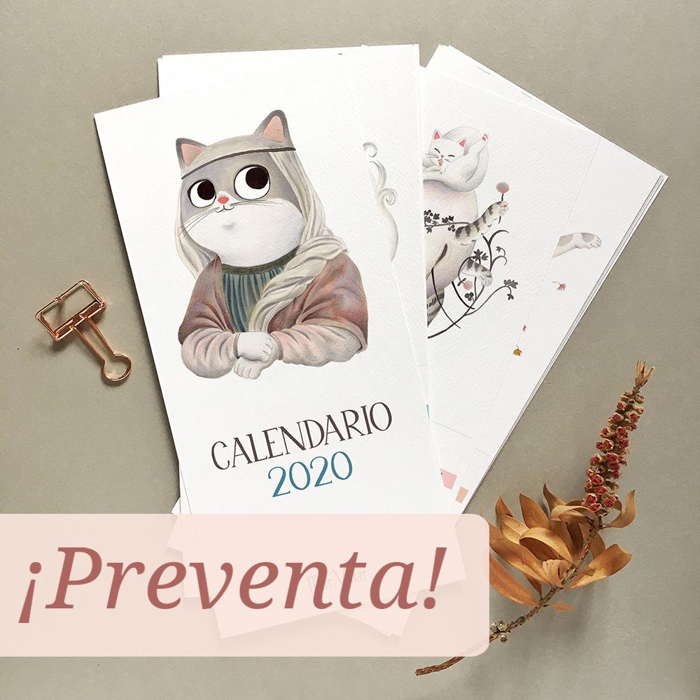 calendario 2020, calendario ilustrado 2020, calendario de gatos 2020, calendario de gatos, ilustración de gato, dibujo de gato, dibujo de gato a tinta, gatos y obras de arte,