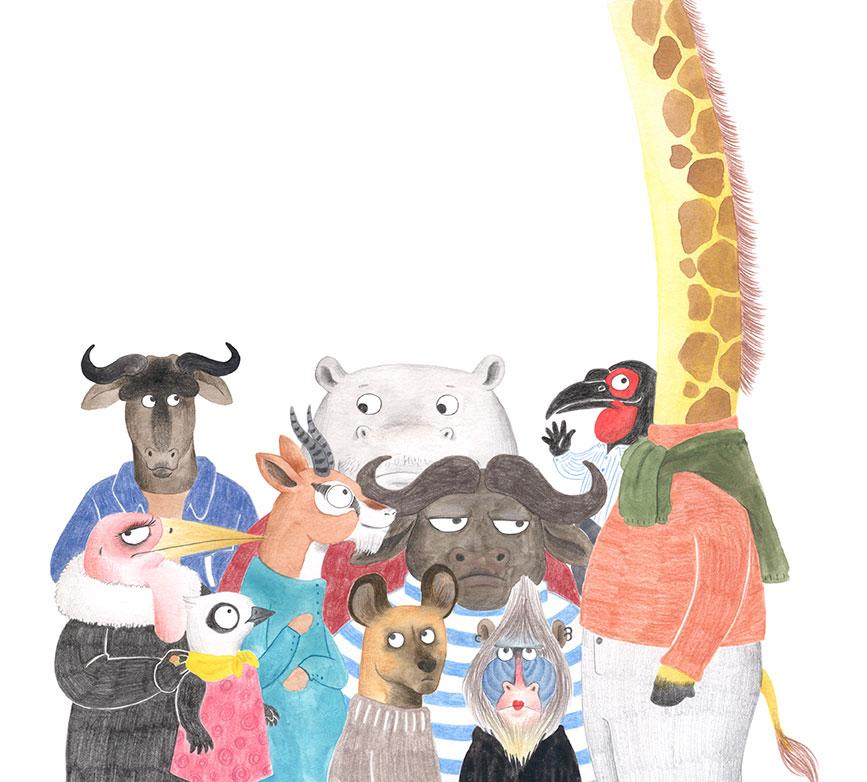 Julia & Paco, Beascoa, Begoña Oro, ilustración de animales, ilustración infantil, ilustración de animales africanos,