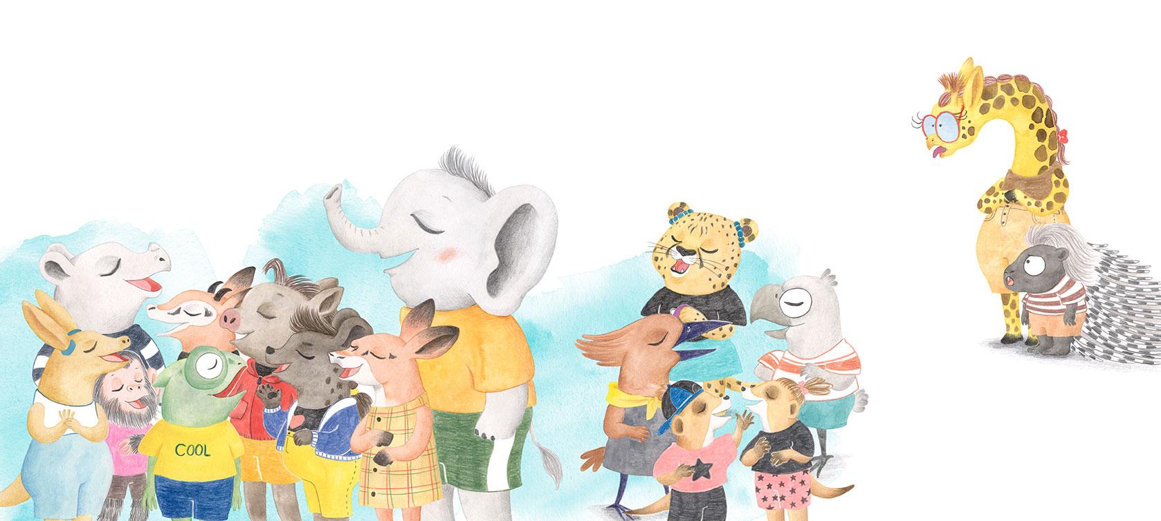 Julia & Paco, Beascoa, Begoña Oro, ilustración de animales, ilustración infantil, ilustración de animales africanos, Escuela Sabana, coro de animales,
