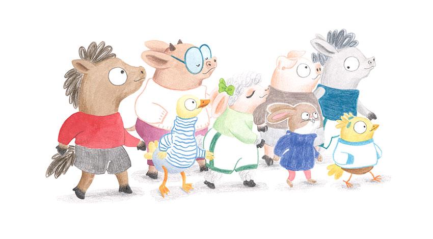 Julia & Paco, Beascoa, Begoña Oro, ilustración de animales, ilustración infantil, ilustración de animales de granja,