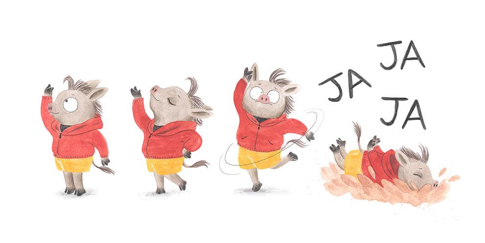 Julia & Paco, Beascoa, Begoña Oro, ilustración de animales, ilustración infantil, ilustración de animales africanos, pasos de baile,