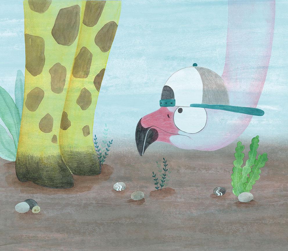 Julia & Paco, Beascoa, Begoña Oro, ilustración de animales, ilustración infantil, ilustración de animales africanos, ilustración de flamenco,