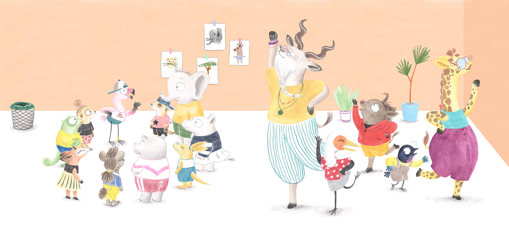 Julia & Paco, Beascoa, Begoña Oro, ilustración de animales, ilustración infantil, ilustración de animales africanos, escena de aula,