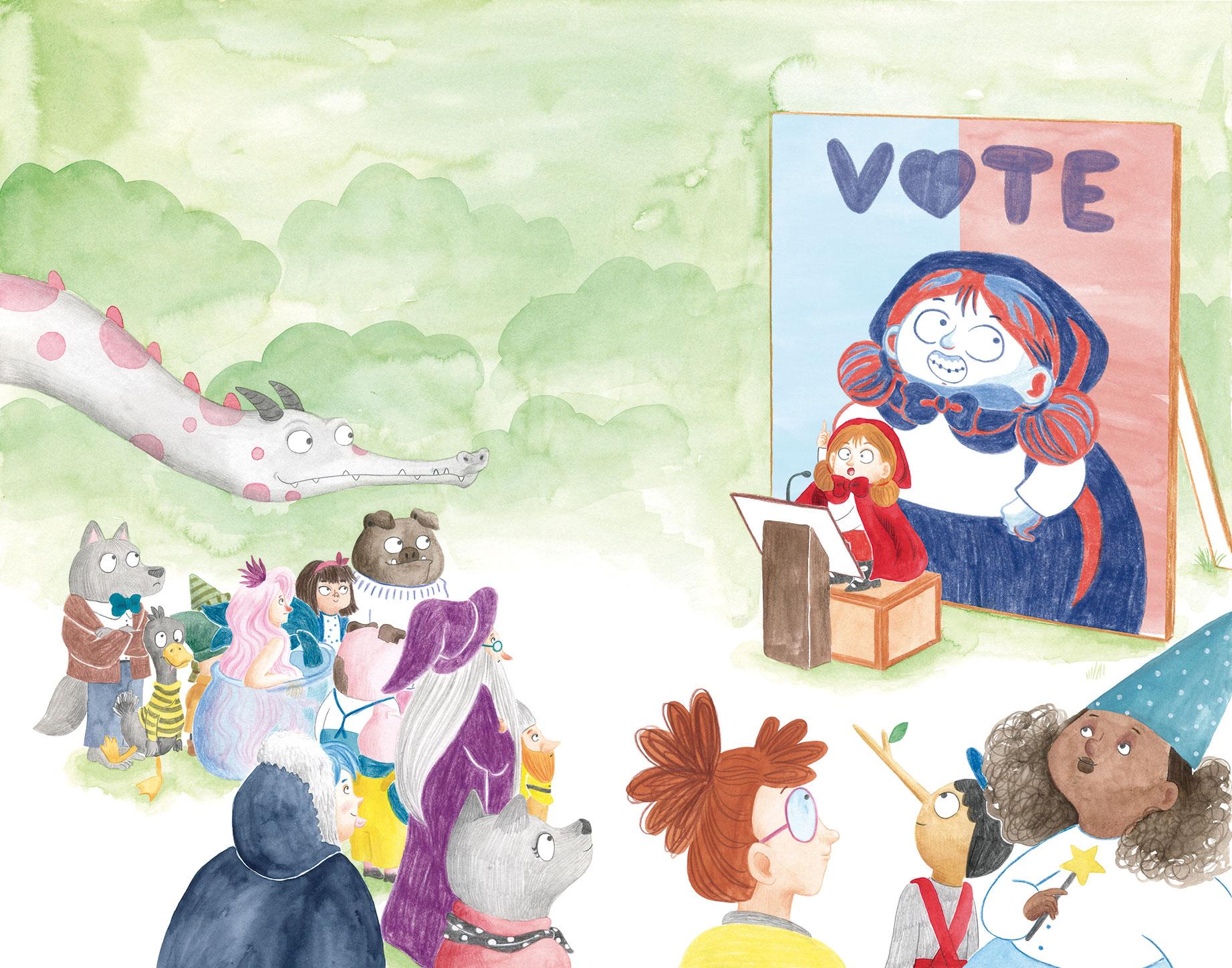 Excelentísima Caperucita, El Hematocrítco, Anaya, cuentos clásicos, Feliz Feroz, parodia de personajes de cuentos clásicos, campaña electoral, elecciones, jornada de reflexión, mitin electoral,