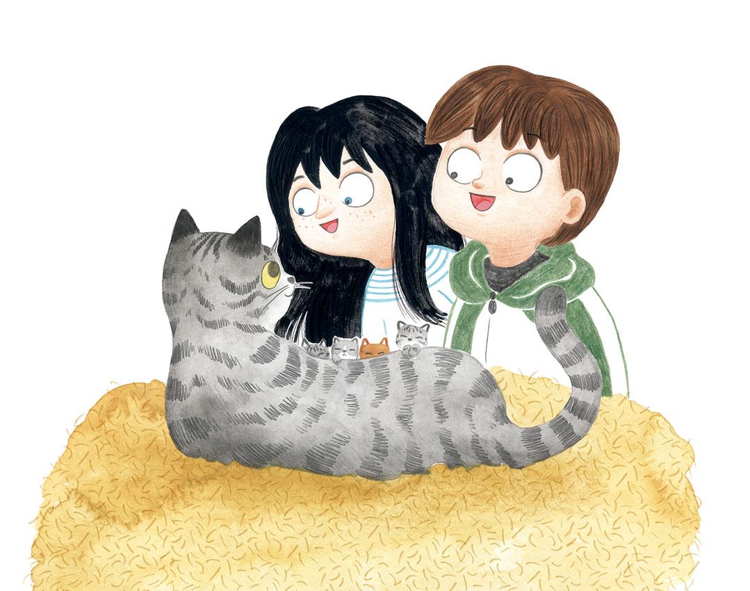 O misterio dos fillos de Lúa, SM, Xerme, El Barco de Vapor, serie naranja, Fina Casalderrey, ilustración de gatos, ilustración infantil, ilustración de gata con gatitos,