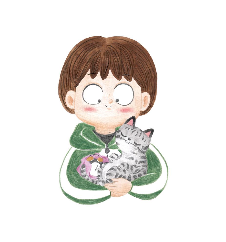 O misterio dos fillos de Lúa, SM, Xerme, El Barco de Vapor, serie naranja, Fina Casalderrey, ilustración de gatos, ilustración infantil, gatito durmiendo,