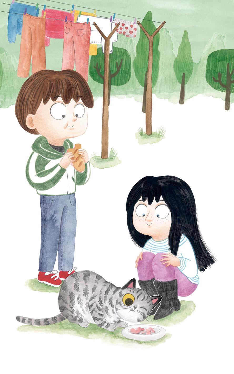 O misterio dos fillos de Lúa, SM, Xerme, El Barco de Vapor, serie naranja, Fina Casalderrey, ilustración de gatos, ilustración infantil, ilustración de gato comiendo,