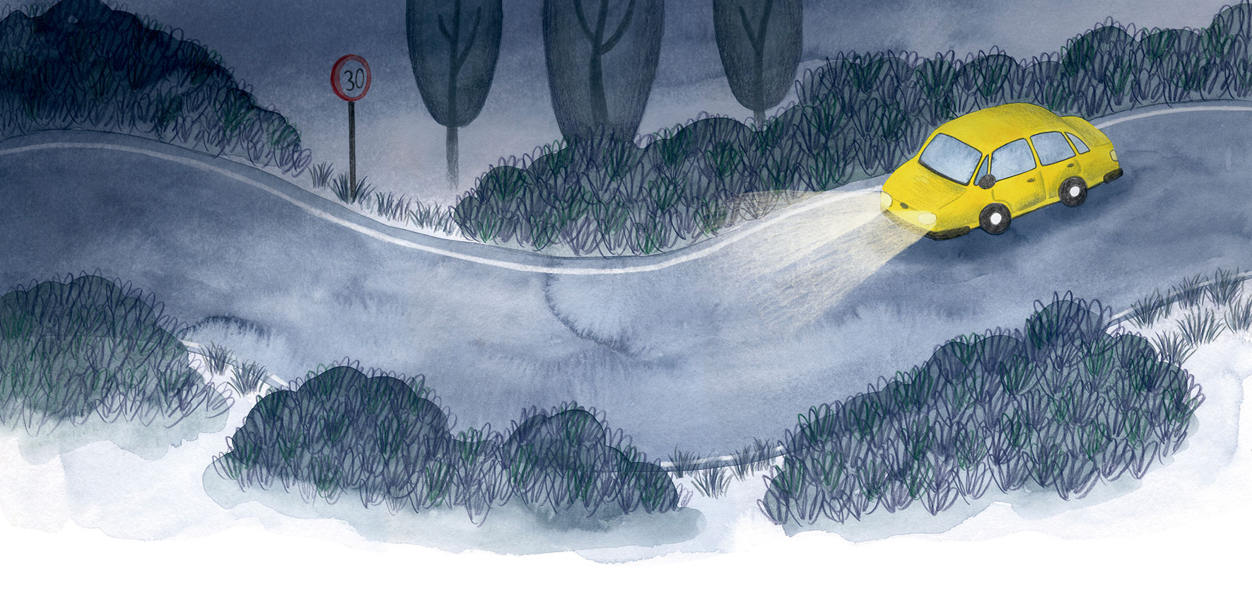 O misterio dos fillos de Lúa, SM, Xerme, El Barco de Vapor, serie naranja, Fina Casalderrey, ilustración de gatos, ilustración infantil, ilustración de escena de noche, ilustración de carretera de noche,