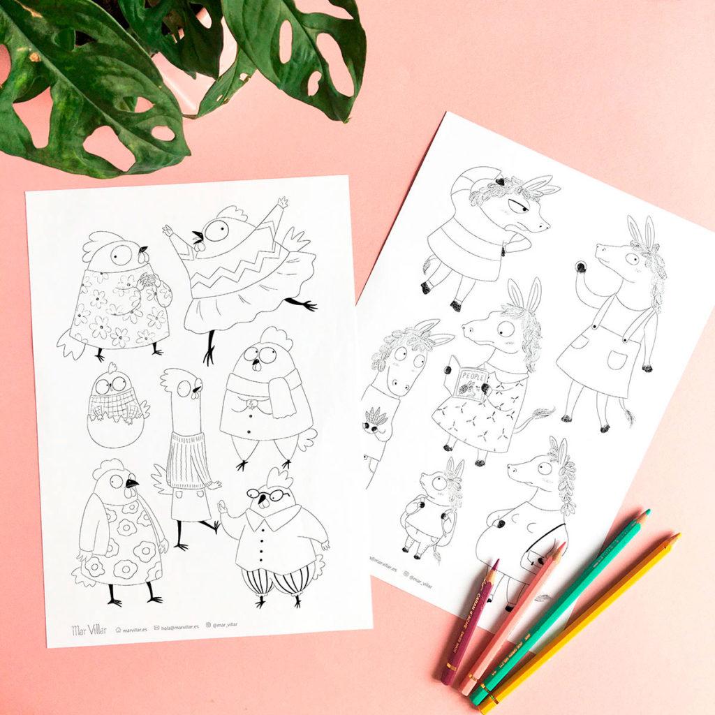 Dibujos para colorear, dibujos infantiles para colorear, ilustraciones para colorear, dibujos de animales para colorear,