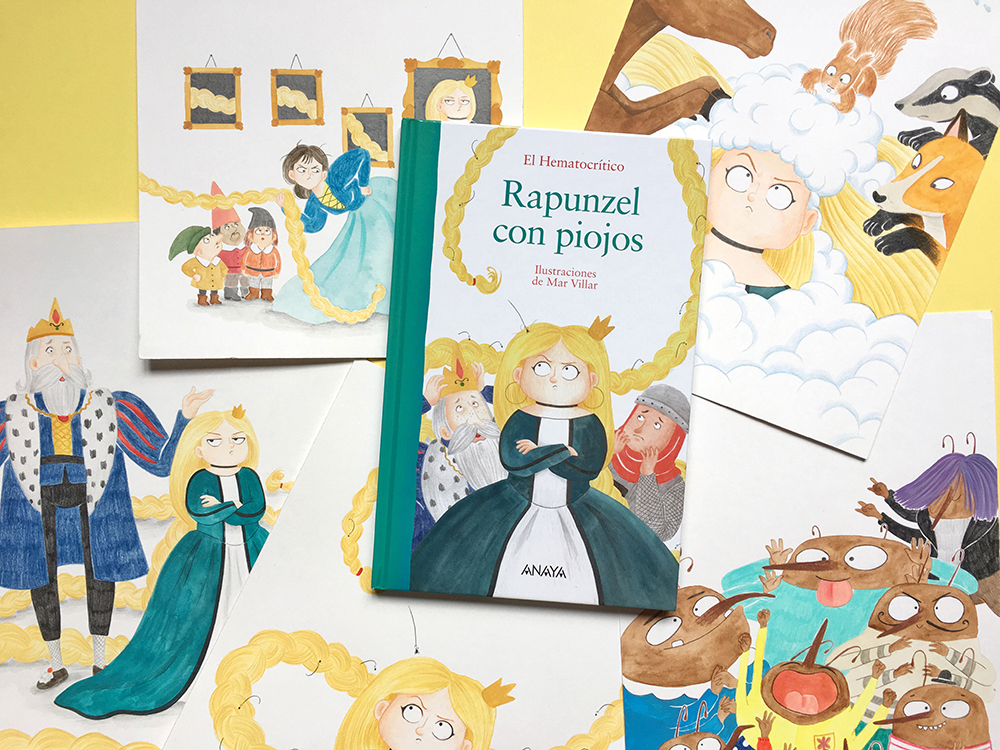 Rapunzel con piojos, El Hematocrítco, Anaya, cuentos clásicos, Feliz Feroz, piojos, parodia de personajes de cuentos clásicos, portada de libro ilustrado, exposición,