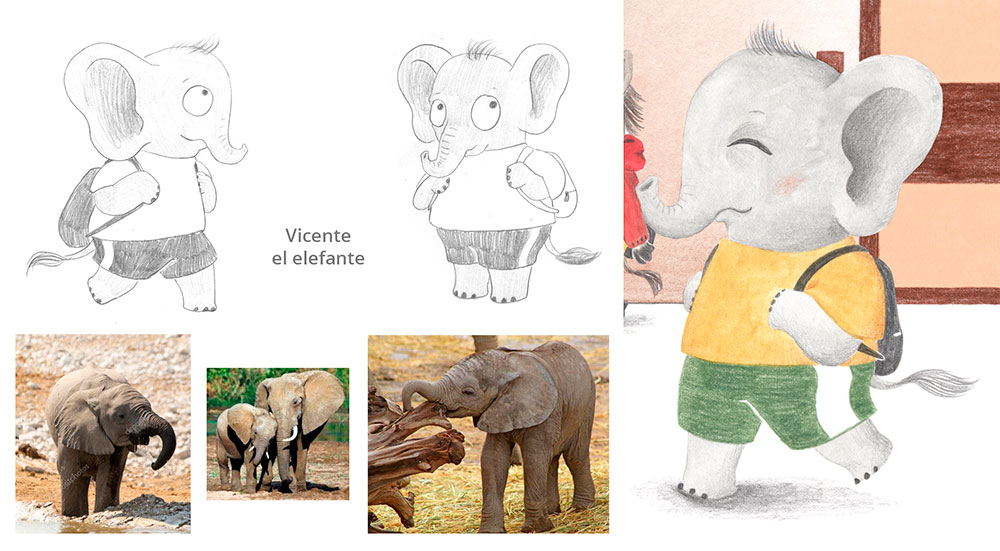 Julia y Paco, ilustración de elefante, ilustración infantil,