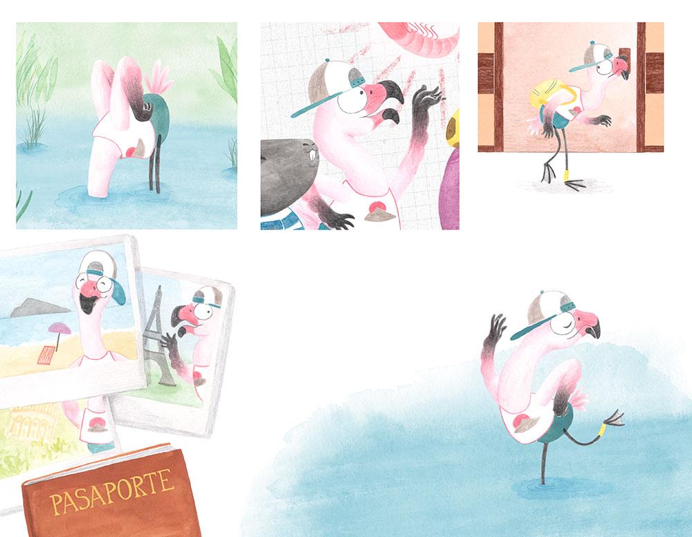 Julia y Paco, ilustración de flamenco, ilustración infantil,