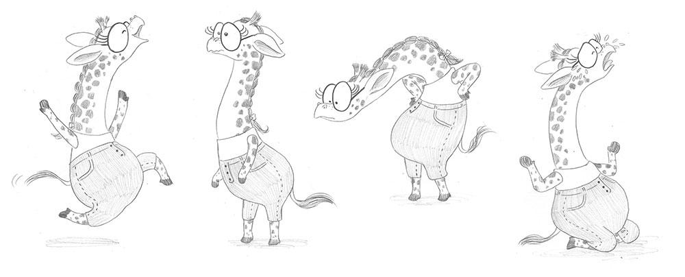 Julia y Paco, ilustración de jirafa, ilustración infantil,