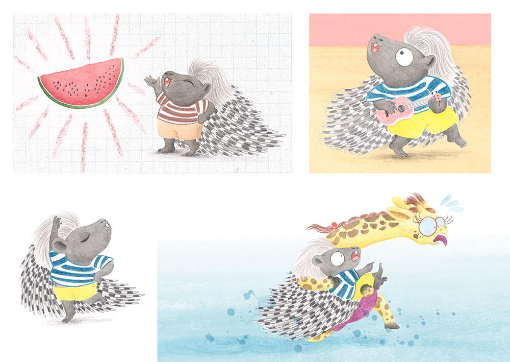 Julia y Paco, ilustración de puercoespín, ilustración infantil,