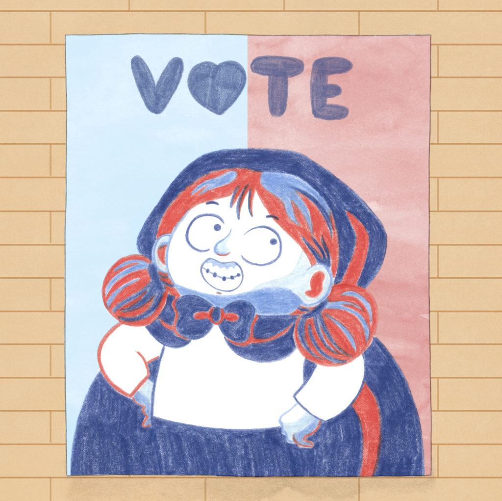 Excelentisima Caperucita, diseño de personajes, personajes de cuentos clásicos, Caperucita Roja, cartel electoral,
