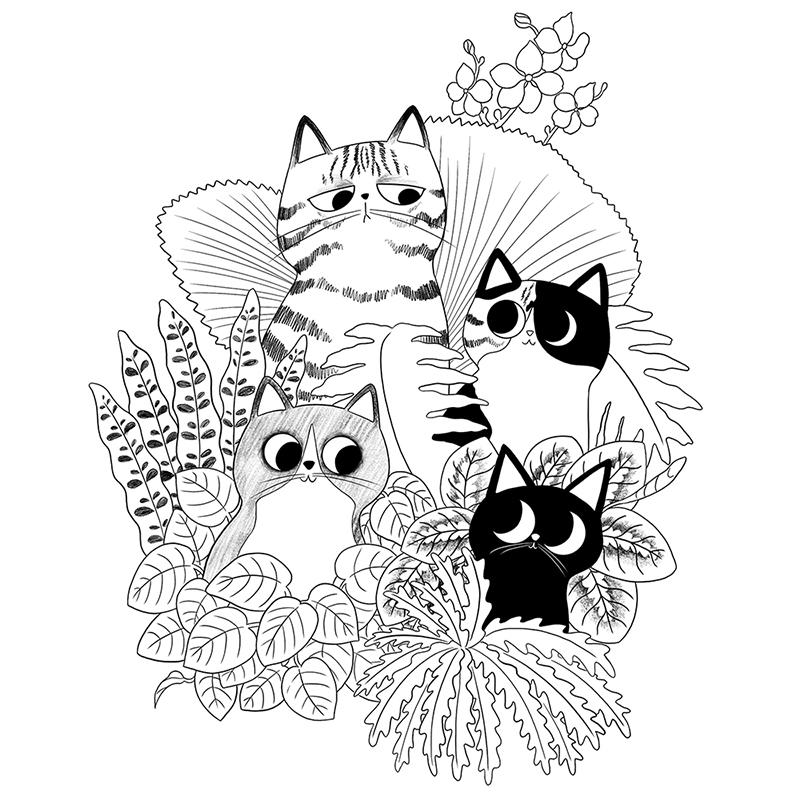 lámina para colorear, Jardí Botànic Universitat València, jardín botánico, coloreable, ilustración para colorear, ilustración de gatos, ilustración en blanco y negro,