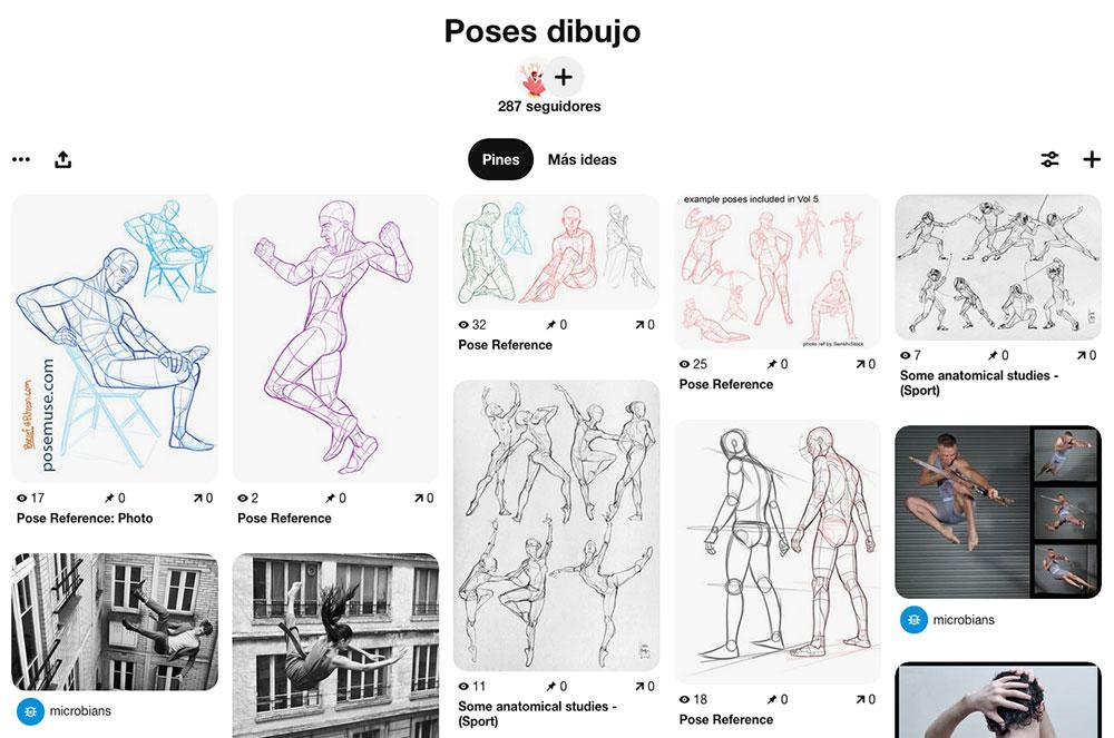 Tablero de Pinterest con referencias para dibujar rostros y manos,