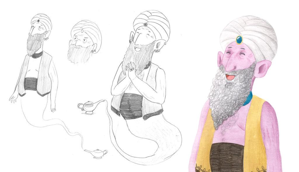 Genio de la lámpara, personajes de cuentos clásicos, diseño de personajes,