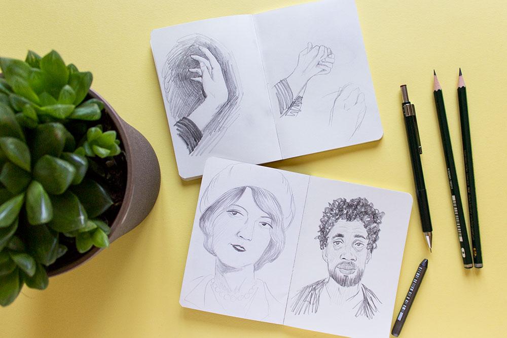 Cuadernos de referencias para dibujar rostros y manos,