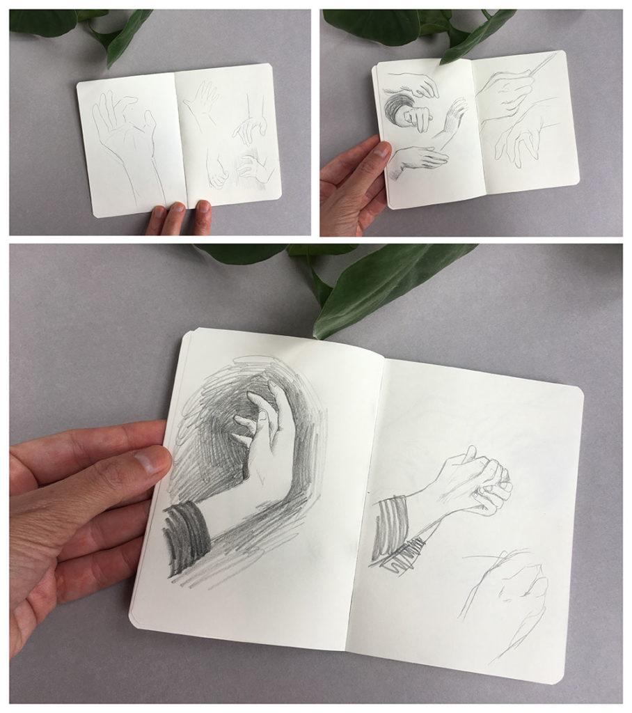 cuaderno de bocetos, dibujar manos,