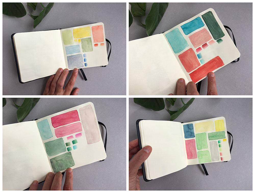 Cuadernos de dibujo, cuaderno de bocetos, cuaderno de artista, estudio de color, paletas de color,