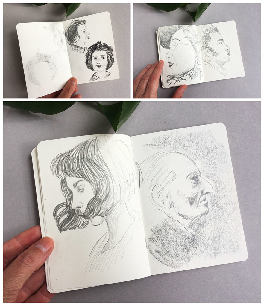 Cuadernos de dibujo, cuaderno de bocetos, dibujar retratos, dibujar rostros,