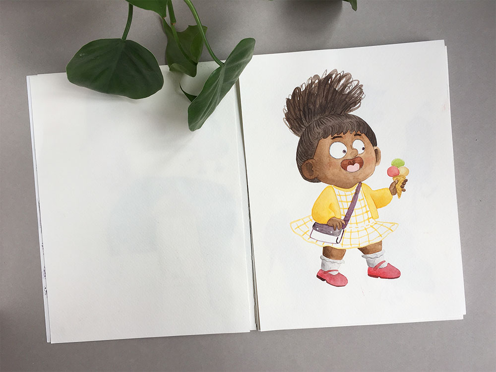 Cuadernos de dibujo, cuaderno de bocetos, cuaderno de artista, ilustración de niña negra,