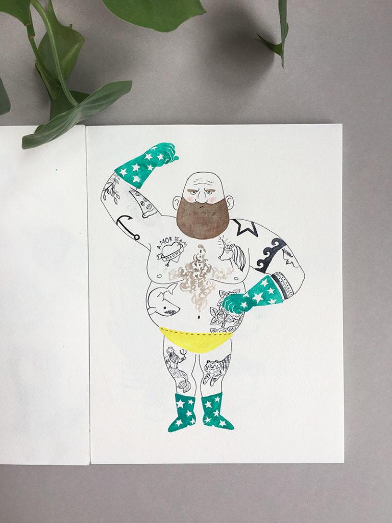 cuaderno de bocetos, cuaderno de artista, ilustración de forzudo, ilustración de hombre tatuado,