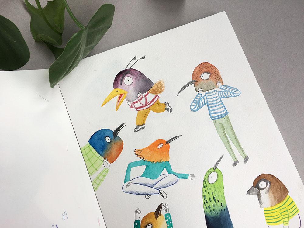 cuaderno de bocetos, cuaderno de artista, ilustración de aves,