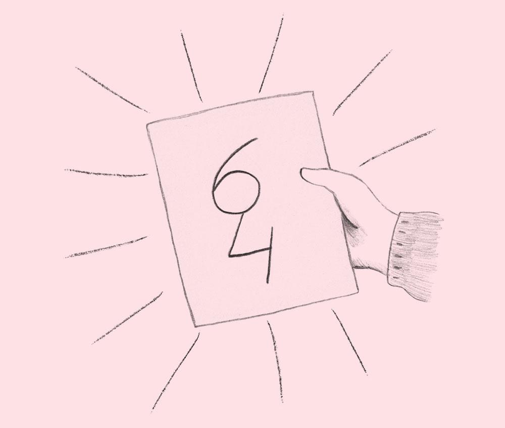haces dibujitos, con un 6 y un 4,