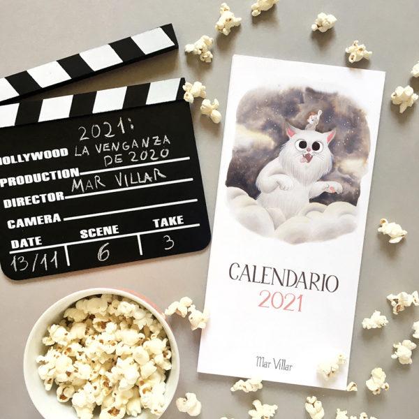 calendario 2021, calendario de gatos, ilustración de gatos,