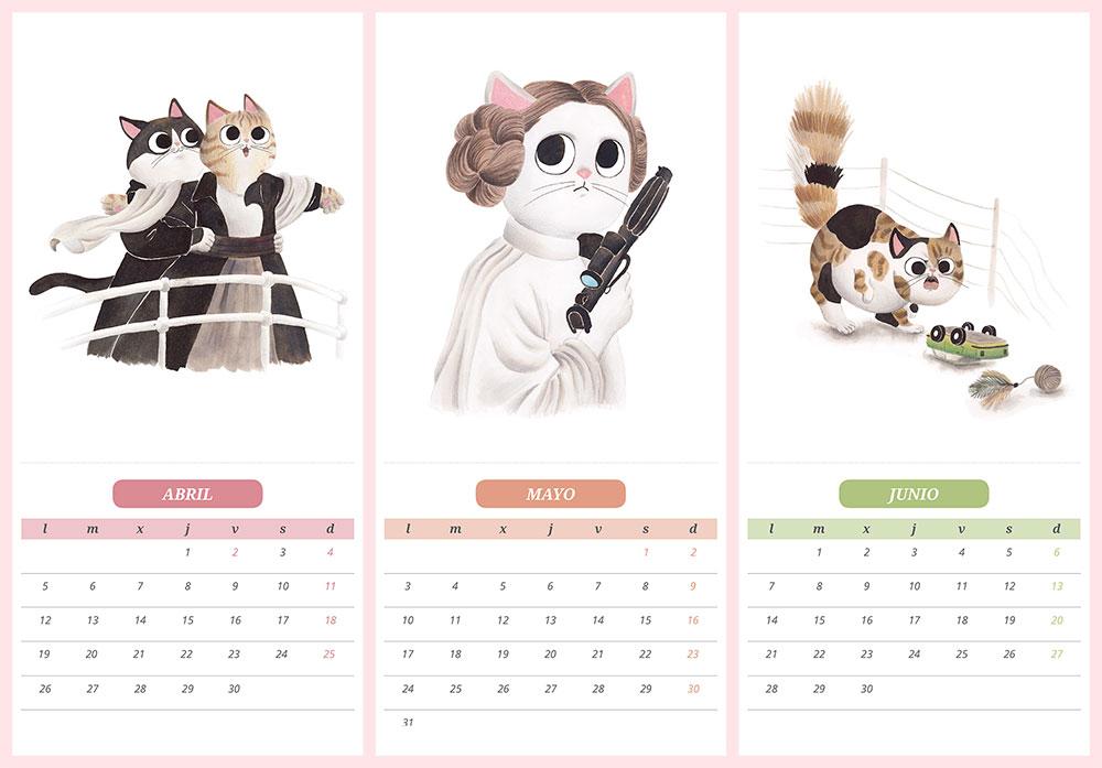 calendario de gatos 2021, ilustraciones de gatos, Titanic, James Cameron, Star Wars, Princesa Leia, George Lucas, Jurassic Park, Parque jurásico, Steven Spielberg, gatos de cine,