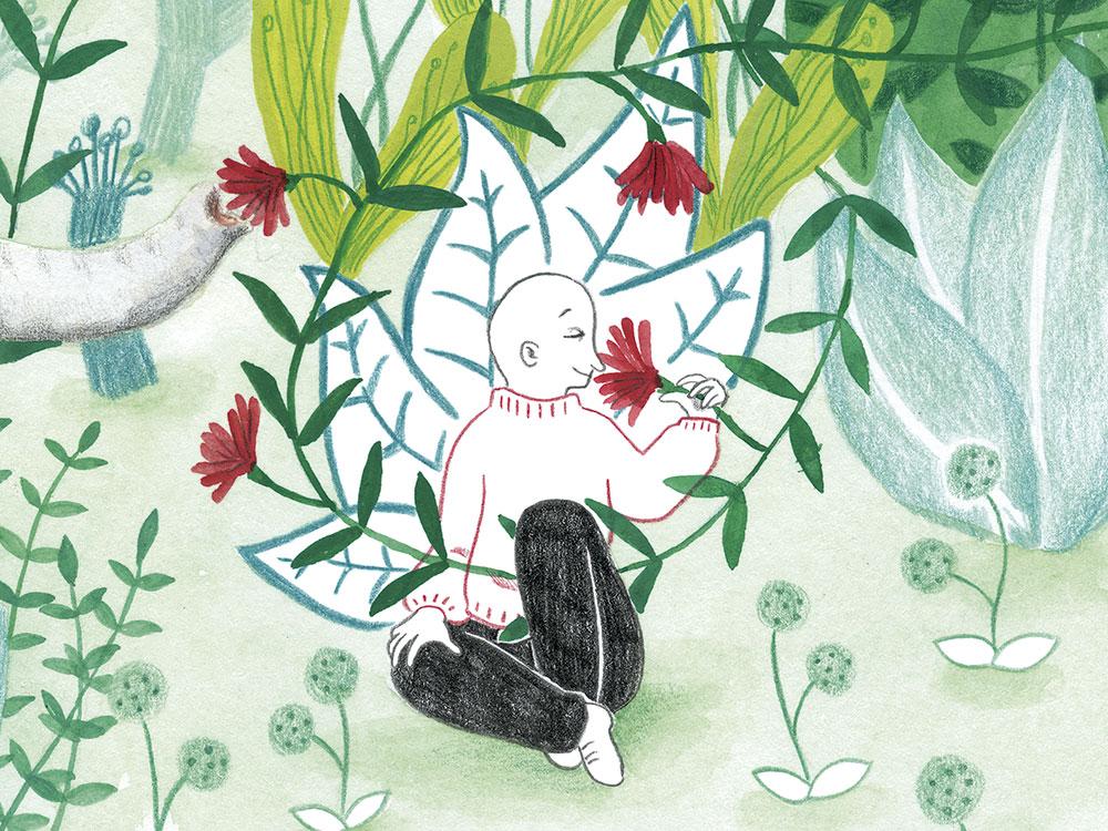 burnout o agotamiento creativo, ilustración de plantas, ilustración infantil, Mar Villar,