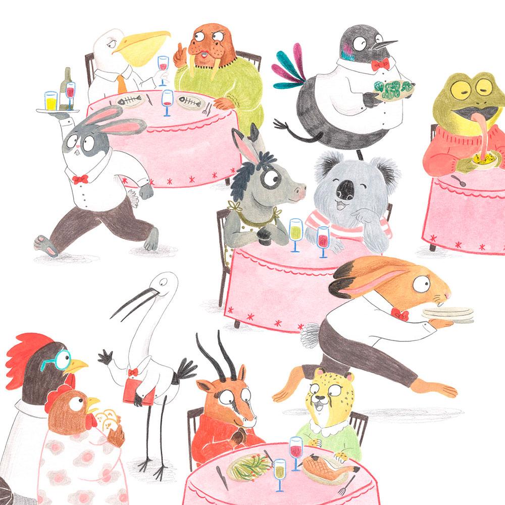 burnout o agotamiento creativo, ilustración de animales, ilustración infantil, Mar Villar,