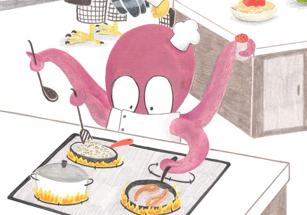 burnout o agotamiento creativo, pulpo cocinando, Mar Villar, ilustración de pulpo,