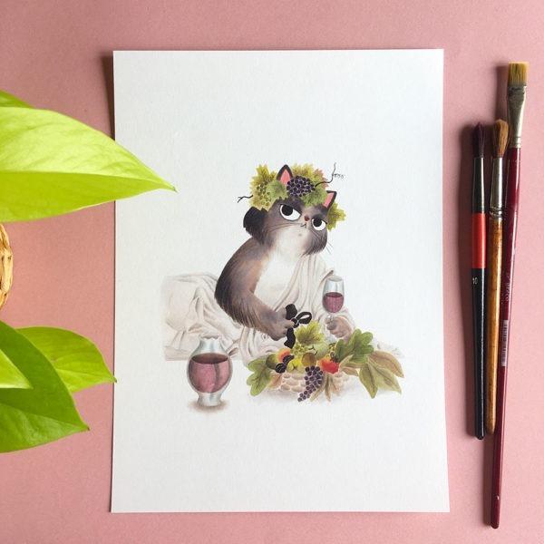 Baco, Caravaggio, ilustracion de gatos, comprar ilustracion de gatos,